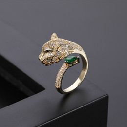 fashion personality alternative leopard head micro inlaid zircon ring women men's silver and gold open rings lover jewelrys couple gifts come with box on Sale