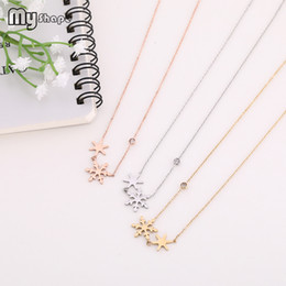 snow white crystal NZ - My Shape Stainless Steel Crystal Snow Necklace White Gold Rose Gold Choker Necklaces for Women Christmas Gift Winter Bijoux 2019