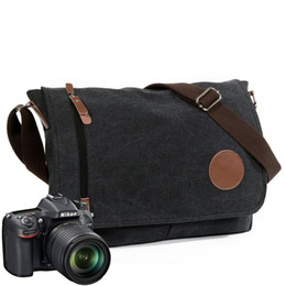 $enCountryForm.capitalKeyWord Australia - Men's women Vintage Canvas Leather Messenger Bags Big Traveling Crossbody Bag Shockproof DSLR SLR Camera Shoulder