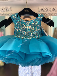cupcake pageant dresses for infants Canada - Children Pageant Dresses for Toddler Infant Baby Girl Little Miss 2019 Unique Turq Blush Cupcake Glitz Kid Birthday Wedding Guest Party Gown