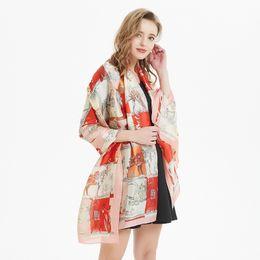 7af38275c3 2019 New Silk Scarf Women God Beast Printing Foulard Female Fashion  Shawls&Wraps Beach Towel Soft Long Scarves Kerchief 180*90cm