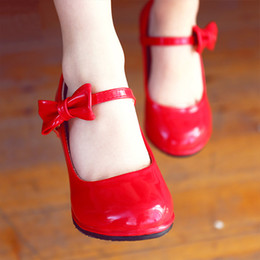 Wholesale Red Shoes Australia - Girls princess high heels children's party wedding leather shoes spring autumn fashion bow-tie non-slip girl red high heels kids