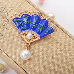 Vintage rhinestone pins online shopping - Fan Brooches Pins Rhinestone Beads Vintage Fashion Fan Shaped Imitation Pearl Brooch For Women Jewelry Christmas Brooch