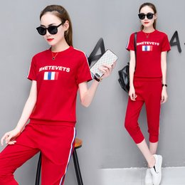 $enCountryForm.capitalKeyWord Australia - women tracksuits letter print 2 pieces o casual sports suit women's short-sleeved cropped trousers running clothes was thin two sets of tide