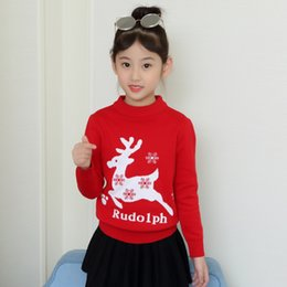$enCountryForm.capitalKeyWord NZ - Girls Sweater for Christmas O-neck Pullover Knitted Jacket with Deer Pattern for 2-10 Years Old Kids Winter Warm Chlid Clothes