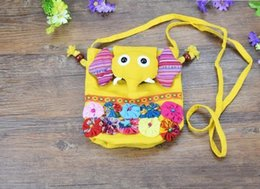 cloth bag stitching NZ - Hot Selling Chinese Ethnic Character Cloth Handmade Preschool Baby Elephant Colorful Stitch Preschool baby Cotton Elephant Bag