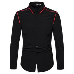 Black Flounce Shirt Australia - Men Shirst Long Sleeve Men's Fashion Contrast Color Flounce Long-sleeve Lapel Shirt Camisas Hombre