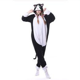 Woman Winter Costumes Pajamas UK - Black Cat Onesies Adult Kigurumi Pajamas Men Animal Cosplay Costume Women Jumpsuit Kitty Pyjamas Winter Sleepwear For Halloween