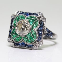 $enCountryForm.capitalKeyWord Australia - Antique Art Deco Lady 925 Silver Sapphire and Emerald Flower Engagement Wedding Ring Party Anniversary Gift Size 5-12