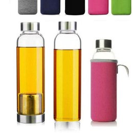 bpa free glasses NZ - 550ml portable Glass Sport Water Bottle with Tea Filter BPA Free Infuser Protective Bag Outdoor Travel Car Cups 12pcs lot by DHL