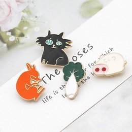 Black Cat Pin NZ - Pig Eat Cabbage Black Black Cat Red Fox Cartoon Brooch Jewelry Badges for Backpack Hard Enamel Pin Buckle Collection Denim Coat Accessory