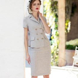 Ol Suits NZ - Women Skirt Suit Summer 2019 OL Office Lady Vintage Double Breasted Top and Pencil Skirt Knee Length 2 Piece Formal Work Uniform