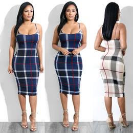 Vente en gros Femmes De Luxe Plaids Robe Moulante Femme Designer Vêtements Spaghetti Strap Robes Robes