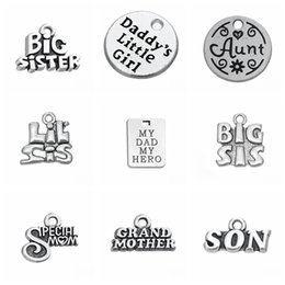 niece charm 2019 - 10pcs Family Tag Sister Aunt Dad Nana Grandma Bother Mom Niece Daughter Charms Pendant For Jewelry Making Antique Silver