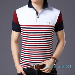 patchwork striped tee NZ - Short Sleeve Tees Slim Contrast Color Fashion Turn Down Collar Mens Tops Mens Designer Striped Patchwork Polos Casual d03