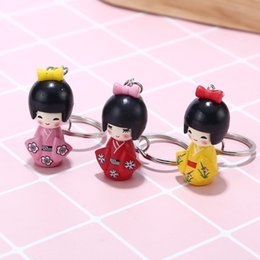 doll keychains for girls NZ - Lovely cartoon doll Keychain for girls Japanese kimono doll Key Ring Pendant car keyring bag accessories