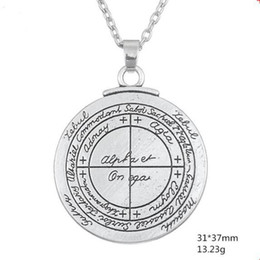 $enCountryForm.capitalKeyWord NZ - QQ18 Double Sided Talisman For Good Luck of Solomon Pentacle Seal Pendant Necklace Jewelry Wicca Amulet for Men