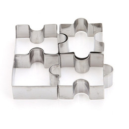 Sugar Cookies Cutter Australia - 4pcs set tainless Steel Puzzle Piece Cookie Cutter Cake Frame Mold Pastry Biscuit Dessert Fondant Sugar craft Baking Tools