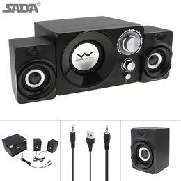 SADA S-20 2.1 Mini Black 11W Wooden Subwoofer Music USB Computer Speaker with 3.5mm Audio Plug for Desktop   TV   PC SSB_10H on Sale