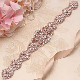 Vente en gros MissRDress Robe de mariée élégante Ceinture Rose Or Cristal Fleur Strass Rubans Ceinture De Mariage Pour Mariage Robe De Bal YS831