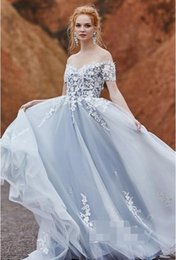Bohemian short wedding dress online shopping - Ice Blue and Ivory A line Wedding Dresses Off the Shoulder Sweetheart Lace Tulle Sweep Train Bohemian Informal Outdoor Bridal Gowns Colored