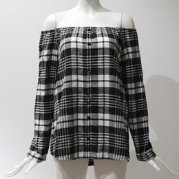 Off Shoulder Blouse Cotton Australia - 2019 Spring Women Plaid T-shirt Slash Neck Long Sleeves Single Breast Pullover Women Grid Printed Off Shoulder Blouse Wholesale