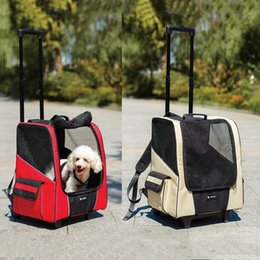 Blue Dog Carriers Australia - New Arrival Dog Carriages Cat Dog Carrier Portable Breathable Backpack Dog Roller Car Luggagedog Cats Travel Supplies