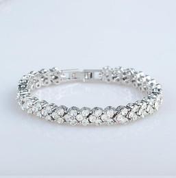 Silver Tennis Australia - Women Austrian Crystal Full Diamond Bracelet Silver Plated Crystal Jewelry Bracelets Tennis Bracelet Party