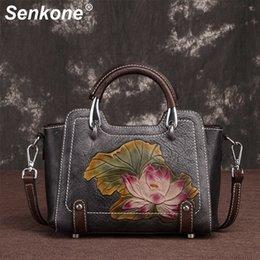$enCountryForm.capitalKeyWord Australia - Women Genuine Leather Retro Shoulder Handbags Embossed Chinese Style Female Messenger Crossbody Bag Tote Handbag Ladies Bags