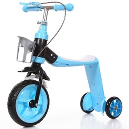 Discount bike car seats - 2 in 1 Kids Child Scooter Car Children's Bike Baby Multifunctional Tricycle with 3 Wheels Stand Seat Folding