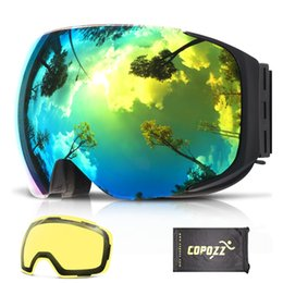 $enCountryForm.capitalKeyWord Australia - Magnetic Ski Goggles with Interchangeable Yellow Lens Anti-fog and UV400 Protection Snowboard Goggles for Adult Men Women
