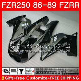Fairing 1987 Australia - Body For YAMAHA FZR250R Black silvery hot FZRR FZR 250R FZR250 86 87 88 89 123HM.9 FZR250RR FZR 250 FZR-250 1986 1987 1988 1989 Fairing kit