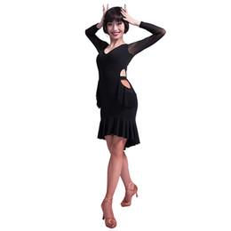 Discount latin ballroom costumes for women - V-neck cutout tassel Placketing ruffle Latin Dance One-piece Dress for female women Ballroom Costumes performance wear M