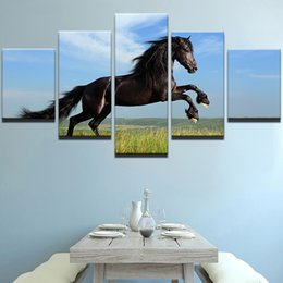 Large Horse Canvas Art Print NZ - Large Poster HD Printed Painting Canvas Print 5 Panel Animal Black Horse Art Home Decoration Wall Art Pictures For Living Room