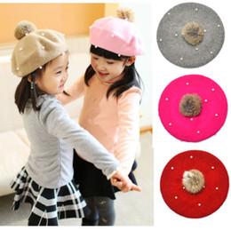 cotton knit beanies wholesale kids 2019 - 2019 Brand New Toddler Kids Baby Girl Hat Winter Raccoon Fur Pom Knit Beanie Ski Cap Bobble Hat Baby Kids Girls Clothing