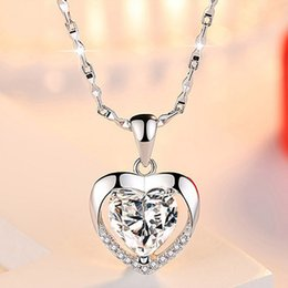 $enCountryForm.capitalKeyWord Australia - Luxury Crystal heart Love pendant Necklaces Women Blue White CZ Gemstone Charm Silver plated chain For Ladies Fashion Jewelry Gift
