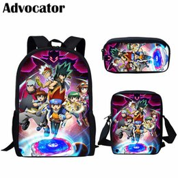 $enCountryForm.capitalKeyWord Australia - ADVOCATOR 3Set Pcs Super Cool Beyblade Anime Pattern Satchel Bookbag for Students Kids Backpack for Teenager Boys Girls Mochila