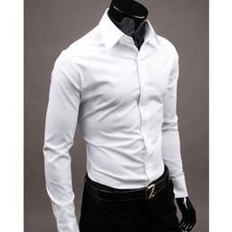 white shirt unique stylish 2019 - New Arrival Mens Slim fit Unique neckline stylish Dress long Sleeve Shirts Mens dress shirts Masculina Chemise Homme che