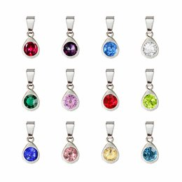 $enCountryForm.capitalKeyWord Australia - 120pcs lot silver drop water birthstone birthday stones pendant with clasp fit for necklace 12 colors each color 10pcs free shippin