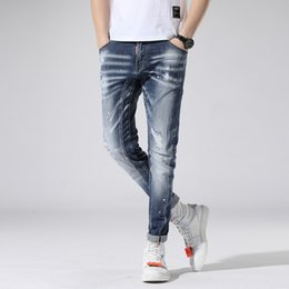 $enCountryForm.capitalKeyWord NZ - Blue Stretch Jeans Brand Slim Fit Men Washed Painted Zipper Hip Hop Hole close-fitting Denim pants Straight Trousers AAA1955