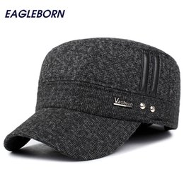 warm baseball cap NZ - EAGLEBORN Winter Hats Men Caps Hat with Earflaps Keep Warm Flat Roof Baseball Caps Old Men Thicken Snapback Russia Casquette Y200110