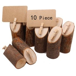 table place cards holders NZ - 10Pcs Wood Place Card Holder Round Base With Clip Clasp for Displaying Memo Photo Picture Table Number Cards