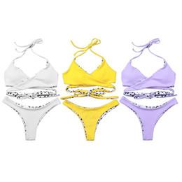 30b6718fd9e7f Womens Sexy Two Piece Bikini Set Halter Deep V-Neck Twist Wrap Front Bra  Low Waist Thong Cross Symbols Printed Color Block Rever