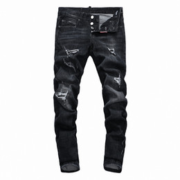 trends jeans UK - 2019 SS Hip-Hop Men's Wear Black Hole Jeans Hole Zipper Trend Jeans Men's Decoration Hole Jeans Men's Pants DN35