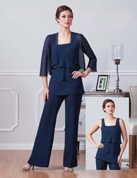Elegant Suit For Party Australia - Elegant Navy Blue Chiffon Pants Suits For Mother Of The Bride Square Neckline Cheap Dresses Party Evening For Wedding Mothers Guest Dress