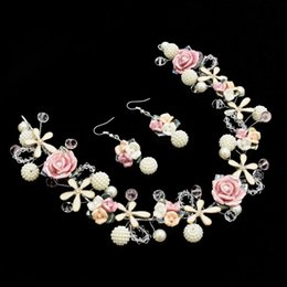 Wedding & Engagement Jewelry Bridal Jewelry Sets Energetic Handmade Red Rose Flower Pearl Wedding Tiara Hairpiece Earring Set Crystal Bridal Prom Headpiece Hair Accessories Jewelry Set Sl