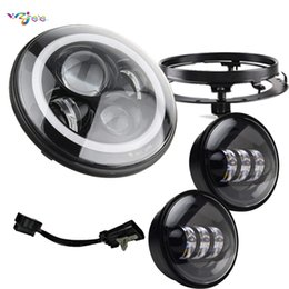 "Honda Roads Australia - 7"" Inch LED Headlight Motorcycle with 4.5 inch Passing fog lights with 7"" Adapter bracket Ring for Road King Road Glide Street"