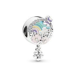 $enCountryForm.capitalKeyWord Australia - New Authentic 925 Sterling Silver Charm Rainbow With Flowers Meadow Flower Colour Story Pendant Beads Fit Pandora Bracelet Diy Jewelry