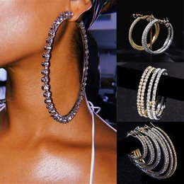 Big Hoop Rhinestone Earring Australia - 1pair New Shiny Big Rhinestone Hoop Earrings for Women Girls Round Circle Silver Gold Diameter 3cm~9cm Earrings Party Jewelry