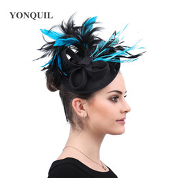 $enCountryForm.capitalKeyWord Australia - Black Hair Accessories Women Fascinators Elegant Lady Cap Mesh Hats Fashion fancy Feathers Wedding Party Hat chapeu feminino free shipping